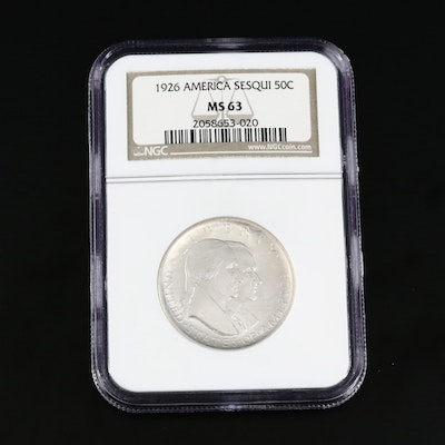 NGC Graded MS63 1926 America Sesquicentennial Commemorative Silver Half Dollar