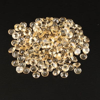 Loose 100.15 CTW Round Faceted Citrines