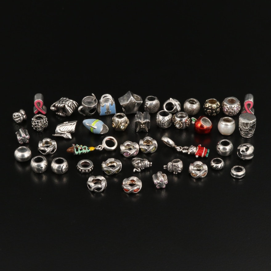 Selection of Charms Featuring Sterling Silver, Pearl and Enamel