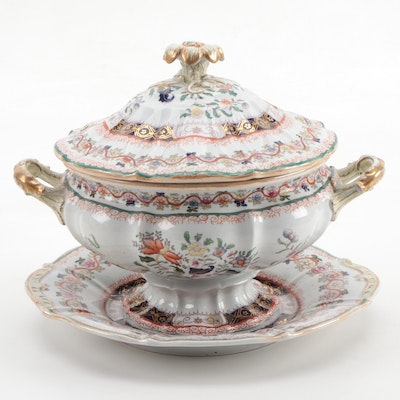 Mason's Chinoiserie Hand-Colored Transferware Soup Tureen and Underplate
