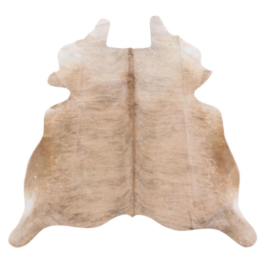 5'3 x 5'11 Light Brown Brindle Cowhide Throw Rug