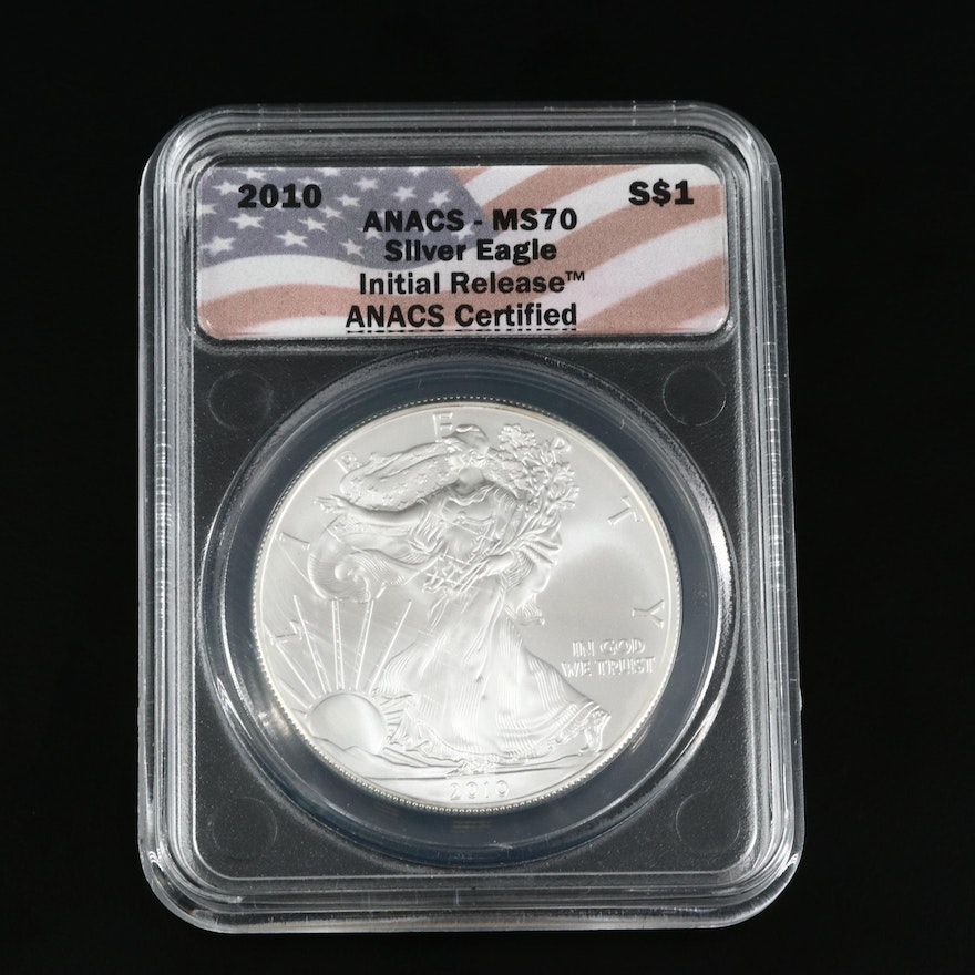 ANACS MS70 2010 .999 Fine Silver Eagle Bullion Coin