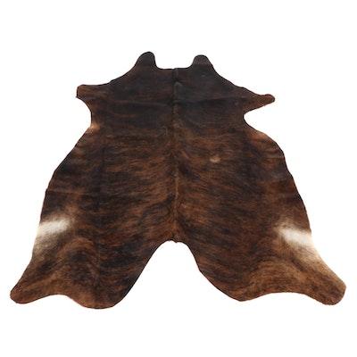 6'1 x 6'5 Dark Brown Brindle Cowhide Throw Rug