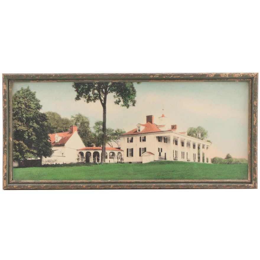 Hand-Painted Photograph of Mount Vernon