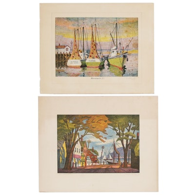 Joseph Di Gemma Harbor Scene Photomechanical Prints, Mid 20th Century