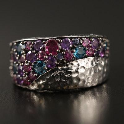 Sterling Pavé Topaz, Amethyst and Garnet Textured Ring