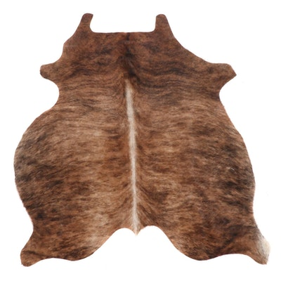 4'10 x 5'6 Brown Brindle Cowhide Throw Rug