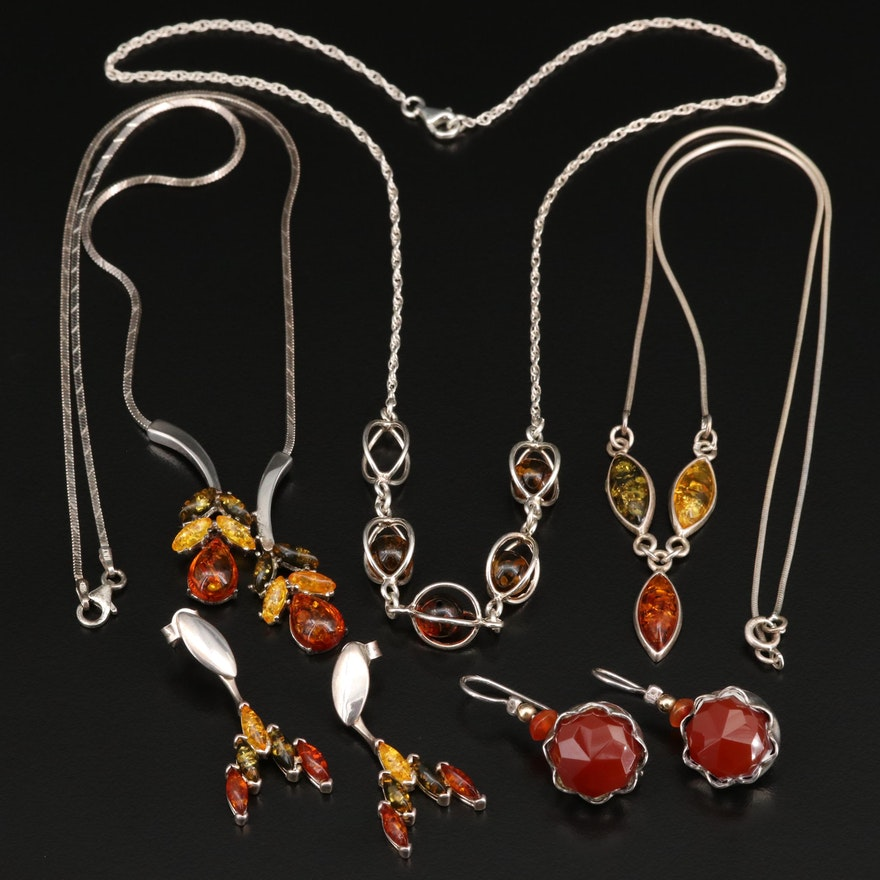 Sterling Silver Necklaces and Earrings with Carnelian, Amber and Agate