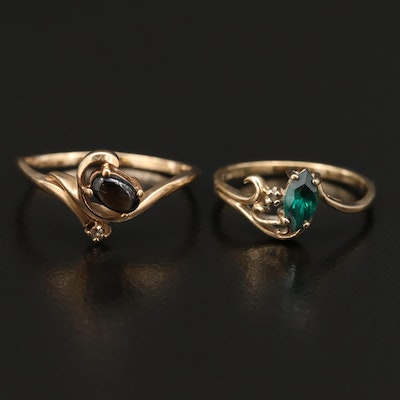 10K Emerald and Diamond Ring and 10K Star Sapphire Ring with Diamond Accent