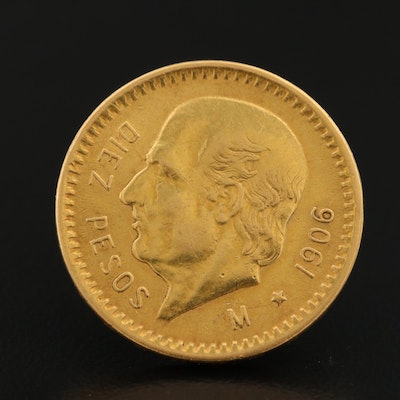 Vintage 1906 Mexico 10-Pesos Gold Coin Lapel Pin