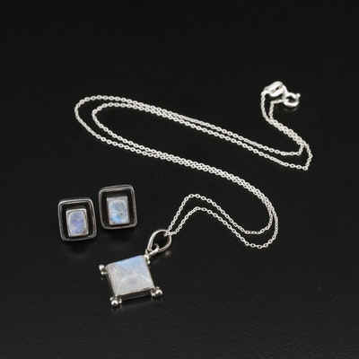 Sterling Silver Moonstone Earrings and Necklace
