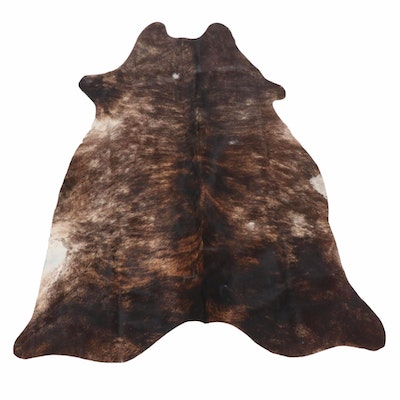 5' x 5'11 Brown Brindle Cowhide Throw Rug