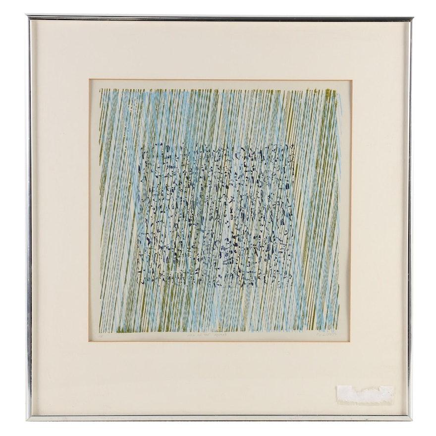 """Dotti Lipetz Serigraph """"Rain in the Square"""", Late 20th Century"""