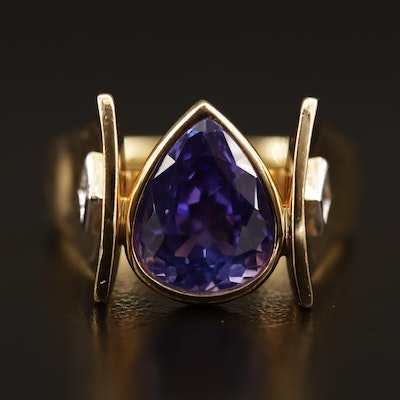 18K 4.86 CT Tanzanite Ring with Diamond Accents