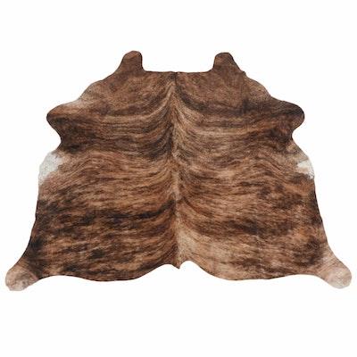6'2 x 5'4 Brown Brindle Cowhide Throw Rug