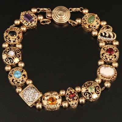 14K Slide Charm Bracelet with Gemstone Mix