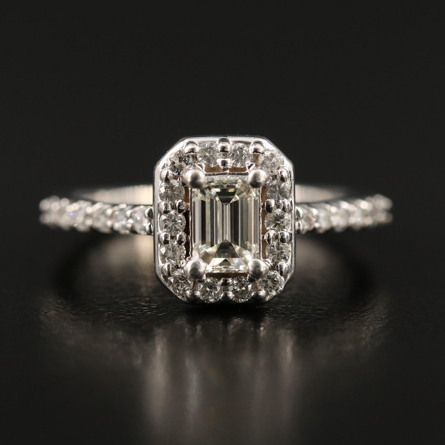 14K 1.07 CTW Diamond Ring with Diamond Shoulders and Halo