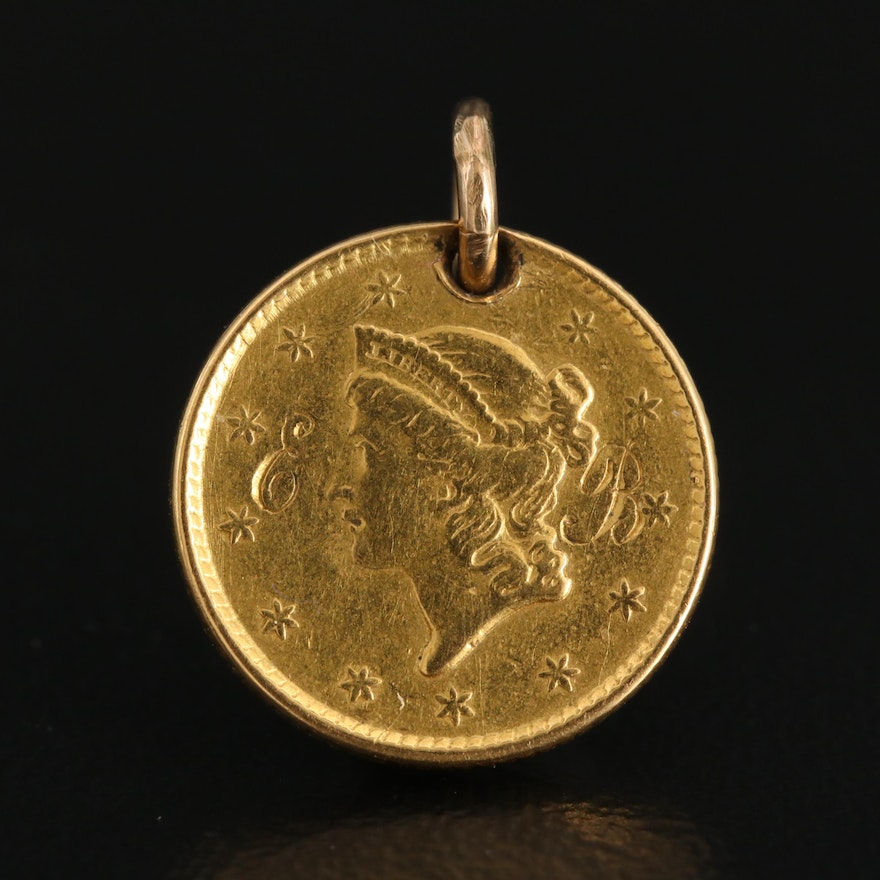14K Pendant with 22K Monogrammed 1852 Liberty Head Gold Dollar Coin