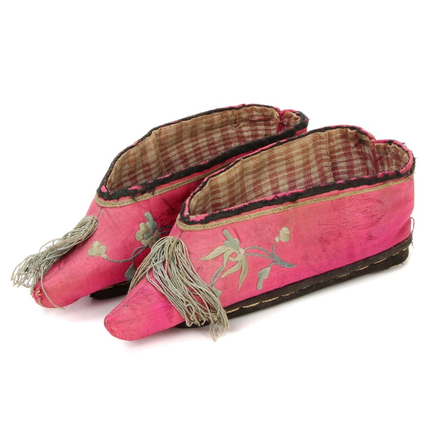 Chinese Silk Hand Embroidered Lotus Shoes, Early 20th Century