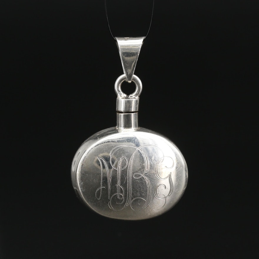 Sterling Silver Initial Perfume Pendant