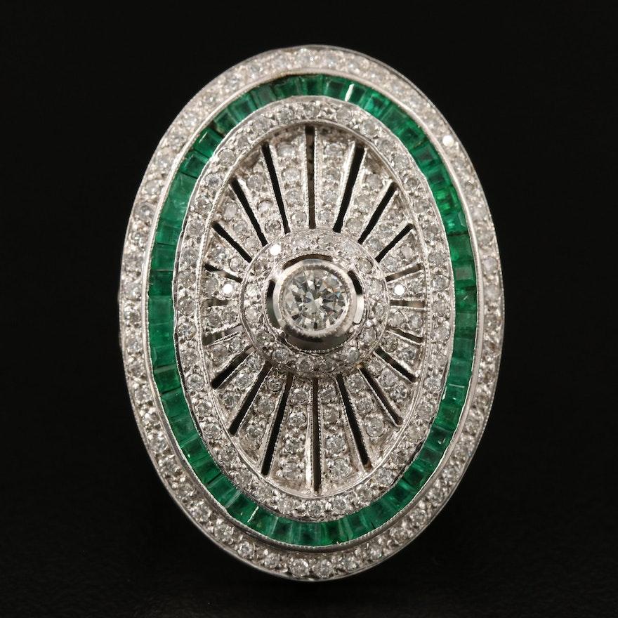 Platinum 1.04 CTW Diamond and Emerald Oval Ring