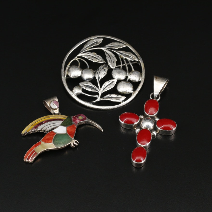 Sterling and 950 Silver Brooch and Pendants Featuring Danecraft