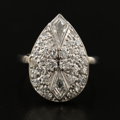Circa 1940s Palladium 1.28 CTW Diamond Ring with Platinum Shank.