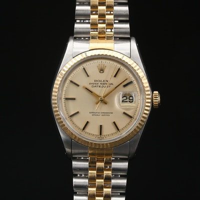 1968 Rolex Datejust Pie Pan Dial 18K and Stainless Steel Automatic Wristwatch