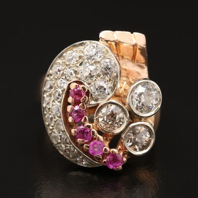 Circa 1940 14K Rose Gold 1.35 CTW Diamond and Ruby Ring