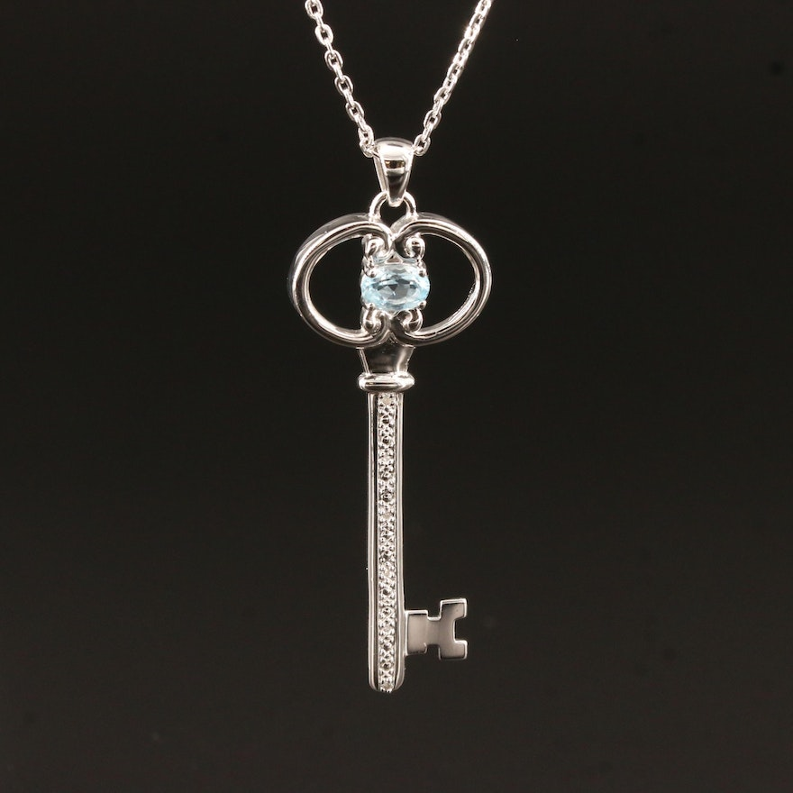 Sterling Silver Key Pendant Necklace with Sky Blue Topaz and Diamonds