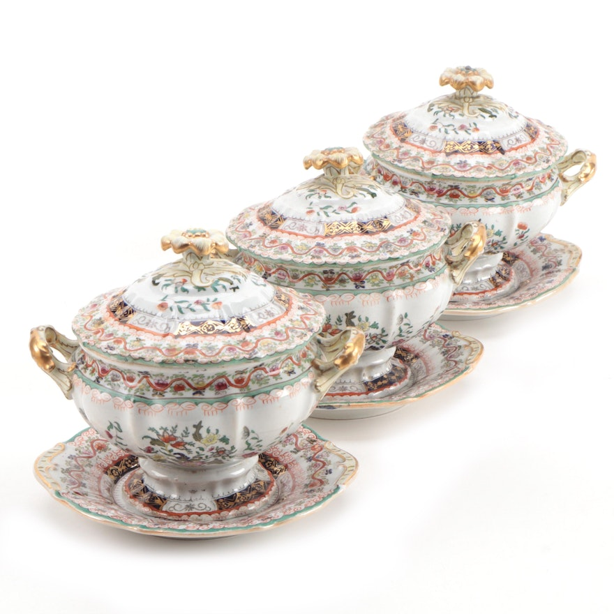 Mason's Chinoiserie Hand-Colored Transferware Ironstone Sauce Tureens