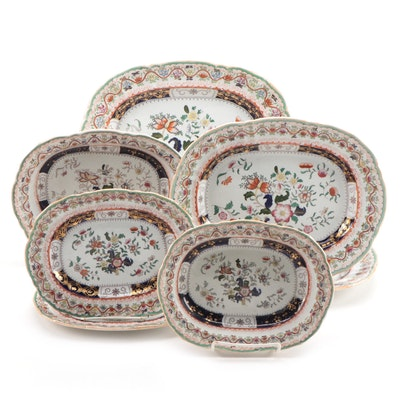 Mason's Chinoiserie Hand-Colored Transferware Serving Bowls and Platters