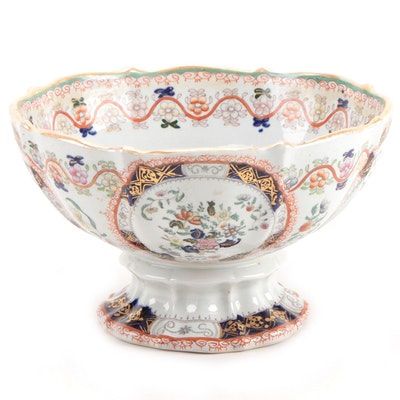 Mason's Chinoiserie Hand-Colored Transferware Ironstone Footed Punch Bowl