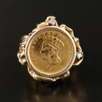 14K Diamond Ring with 1856 Indian Princess Head Type III Gold Dollar