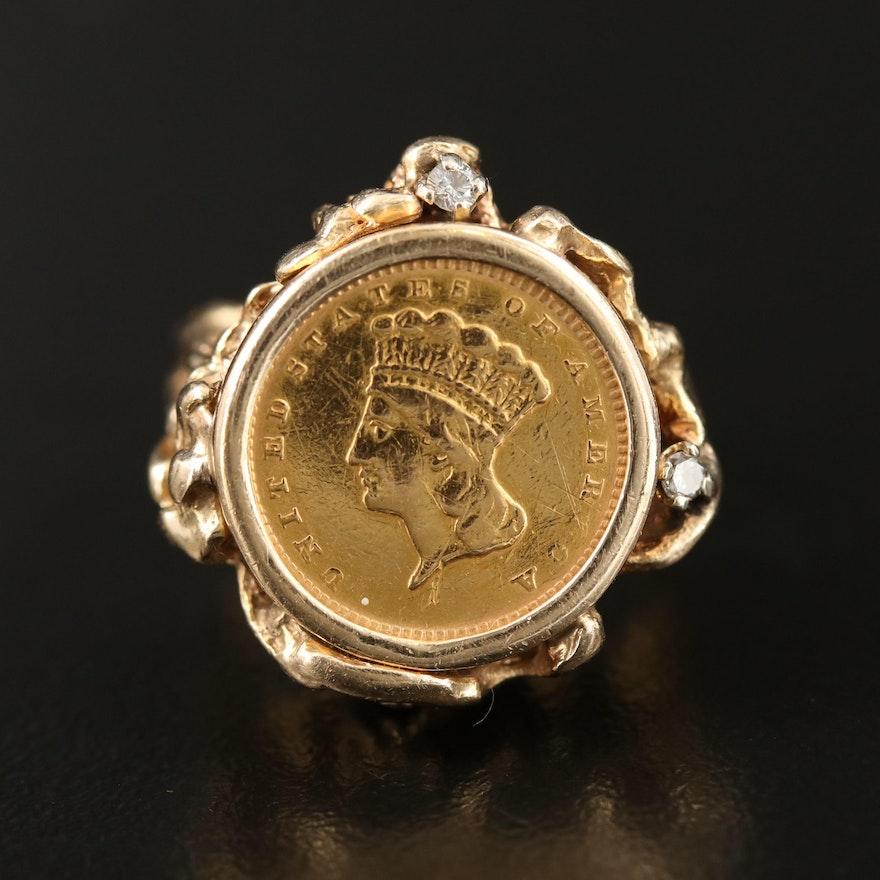 14K Diamond Ring with 1856 Indian Princess Head Type III Gold Dollar