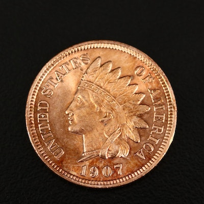 1907 Indian Head Toned One Cent Coin