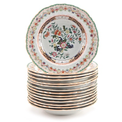 Mason's Chinoiserie Hand-Colored Transferware Ironstone Rimmed Soup Bowls