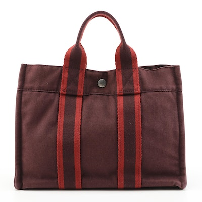 Hermès Paris Fourre Tout PM in Burgundy Cotton Canvas