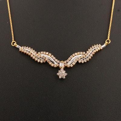 18K 1.48 CTW Diamond Necklace with Ribbon Design