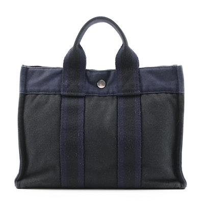 Hermès Paris Fourre Tout PM in Navy Blue and Black Cotton Canvas