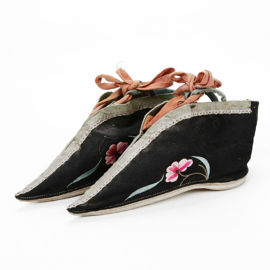 Chinese Hand Embroidered Silk Lotus Shoes, Early 20th Century