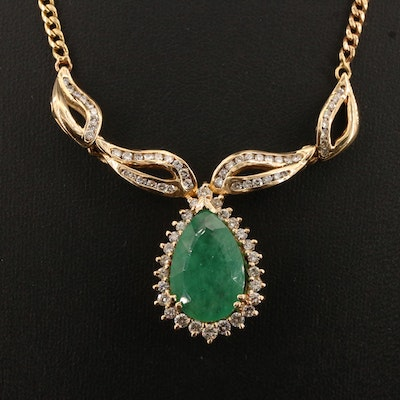18K 7.80 CT Emerald and 1.85 CTW Diamond Necklace