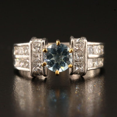 14K Aquamarine and 1.32 CTW Diamond Ring