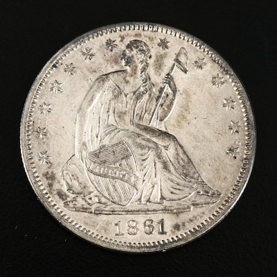 1861 Seated Liberty Silver Half Dollar
