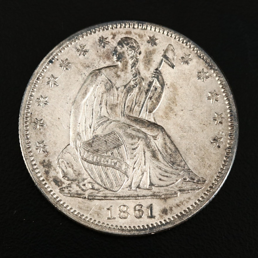 1861 Seated Liberty Silver Half Dollar
