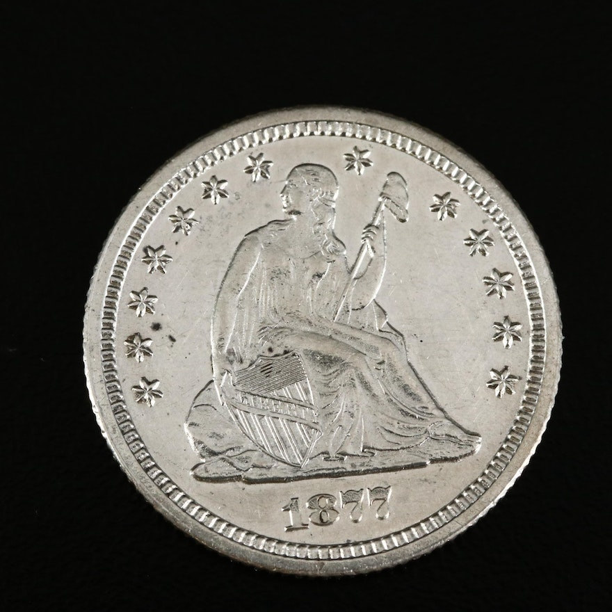 1877-CC Seated Liberty Silver Quarter