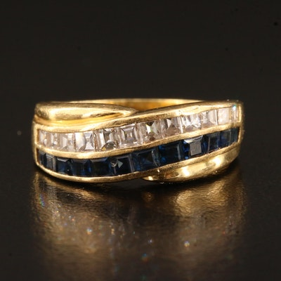18K Diamond and Sapphire Band