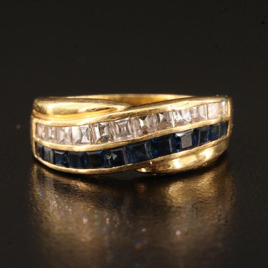 18K Diamond and Sapphire Band