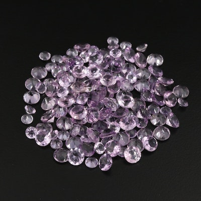 Loose 112.93 CTW Round Faceted Amethysts