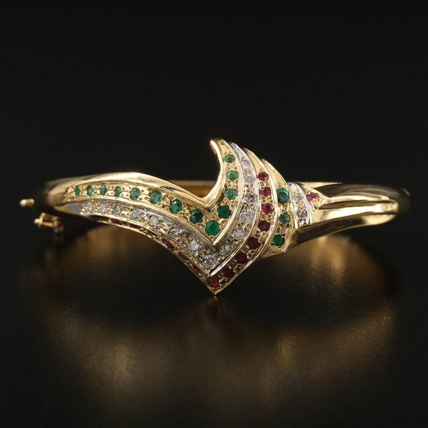 18K Diamond, Emerald and Ruby Hinged Bangle Bracelet